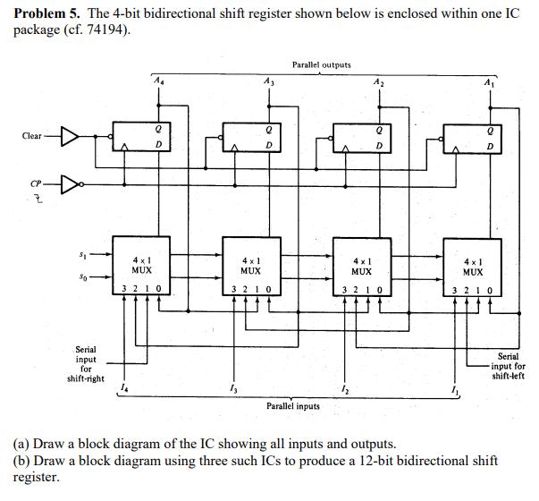 Problem 5 The 4 Bit Bidirectional Shift Register Chegg Com