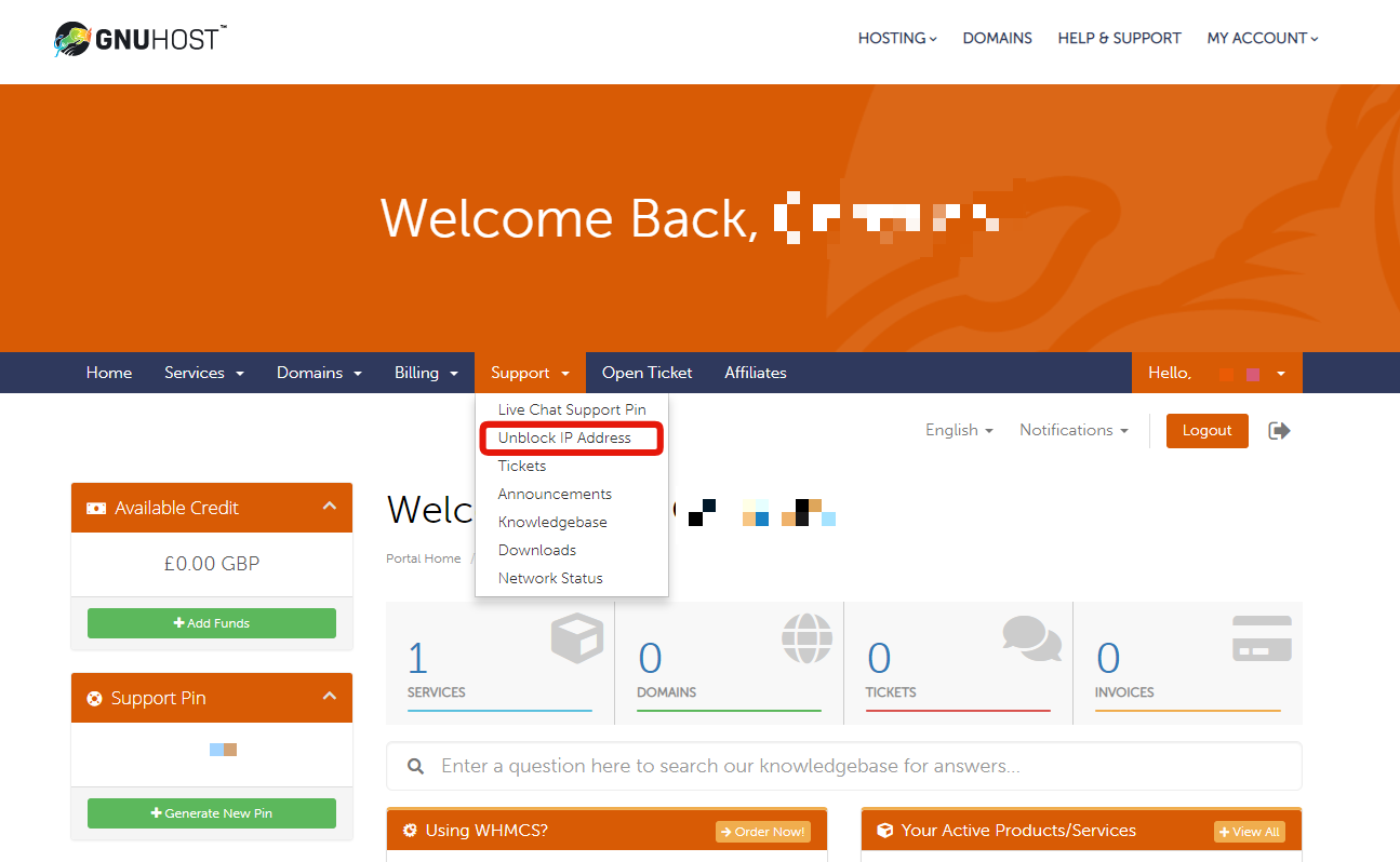 How to unblock your IP from our firewall - Knowledgebase - Gnu Host