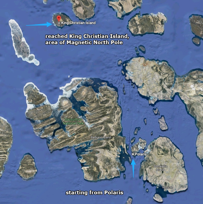 Map of the arctic area: Polaris to King Christian Island