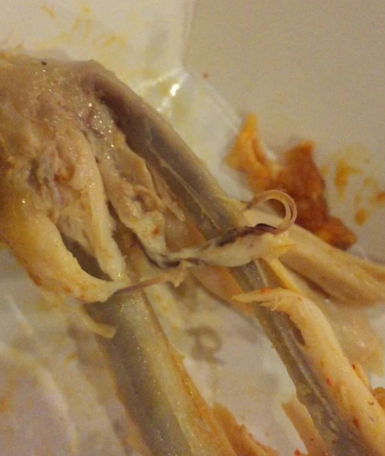 Is this a worm or vein in my chicken wing?!? | Yahoo Answers