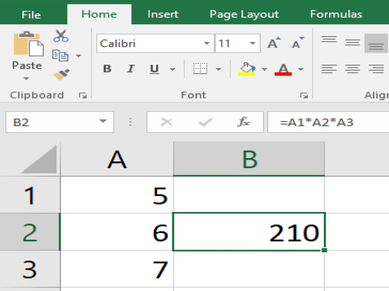 Screenshot of an Excel sample performing a multiply function using cell references