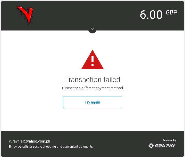 R] How to Fix g2a payment Failed