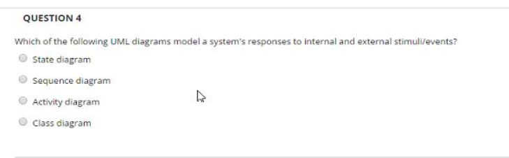 Solved question 4 which of the following uml diagrams mod question 4 which of the following uml diagrams model a systems responses to internal and external ccuart Image collections