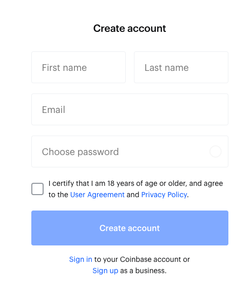 how to sign up on Coinbase