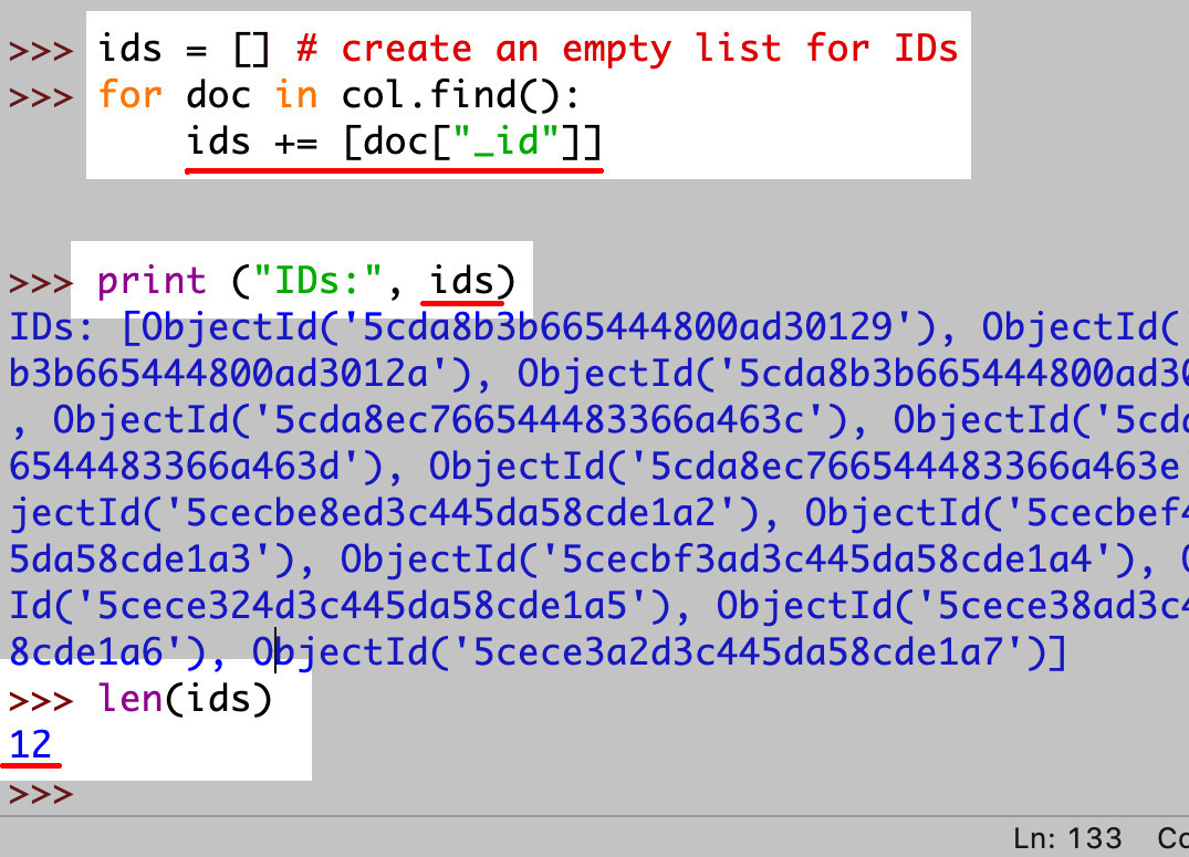 Screenshot of Python IDLE making find() API request to MongoDB and putting _id into Python list