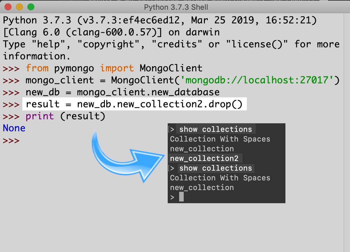 Screenshot of using Python's IDLE to make an API call to a MongoDB database to drop a collection