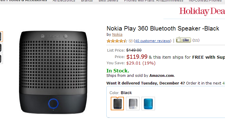 Play 360 Bluetooth Speakers On Sale at Amazon for $119