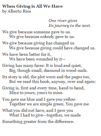 Poem of the Day. When Giving is All We Have by Alberto Rios