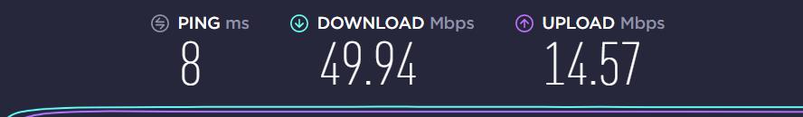 Beispiel: Internet-Speedtest auf speedtest.net (Screenshot) - 8ms Ping / 49.94 Mbps Download / 14.57 Mbps Upload
