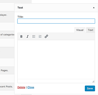 WordPress 4.8 Text Widget