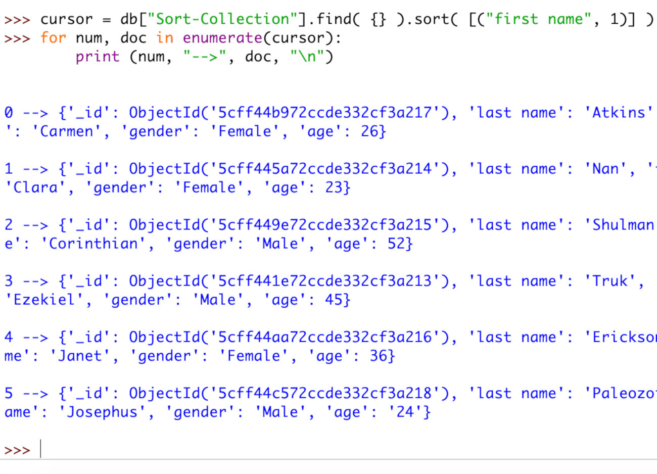 Screenshot of the enumerate() function iterating over a PyMongo cursor object returned by the sort() method