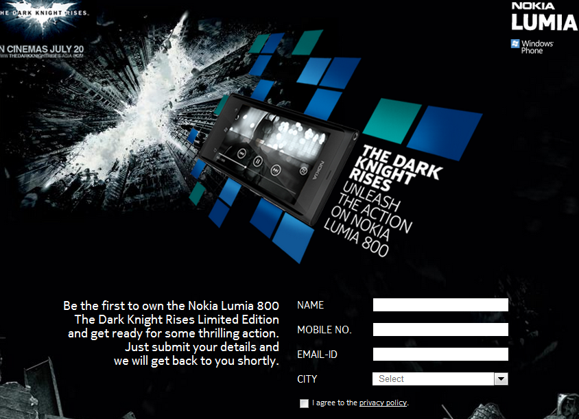 Nokia India FB Page Opens Preorders for Lumia 800 Dark Knight Edition