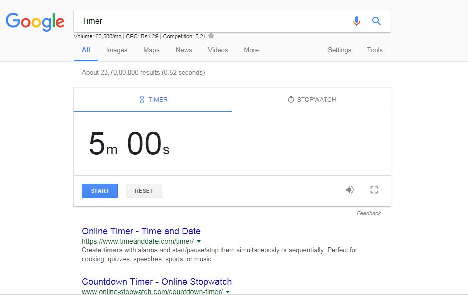 google search Timer