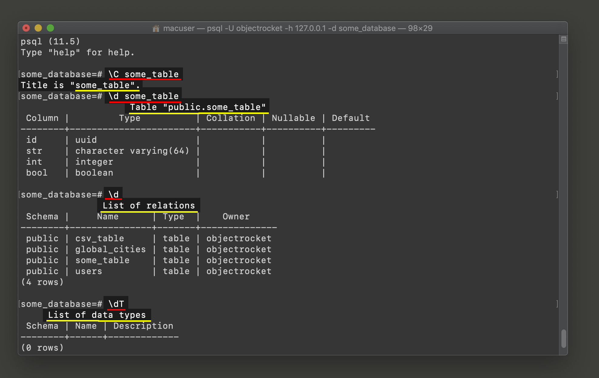 Screenshot of the \c and \d commands in a psql terminal window