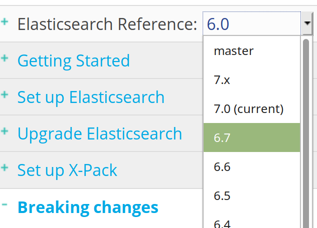 Screenshot of a dropdown menu on the right-side of Elastic's website to change the version for the documentation reference
