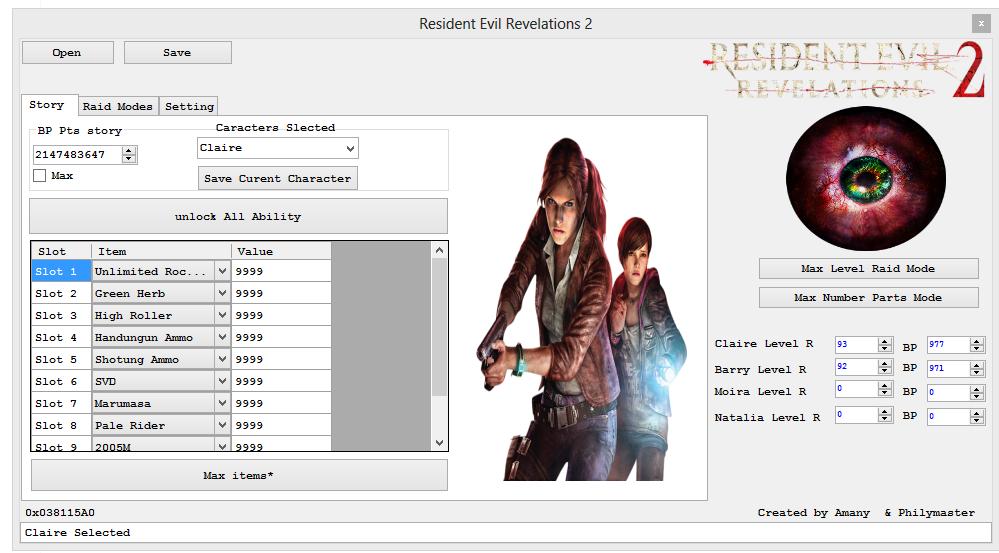 Release] Resident Evil Revelations 2 save editor 4 0 0 0
