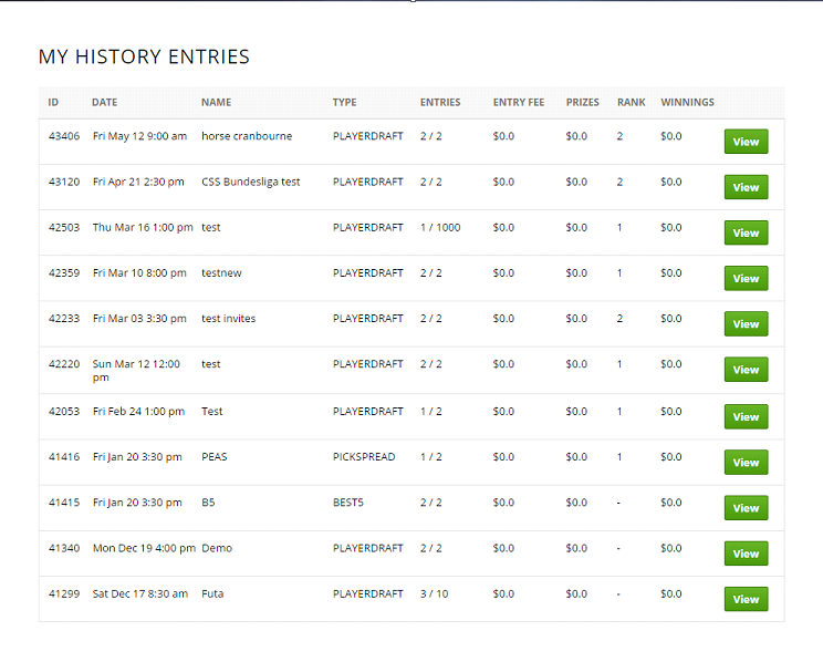 My History Entries Page