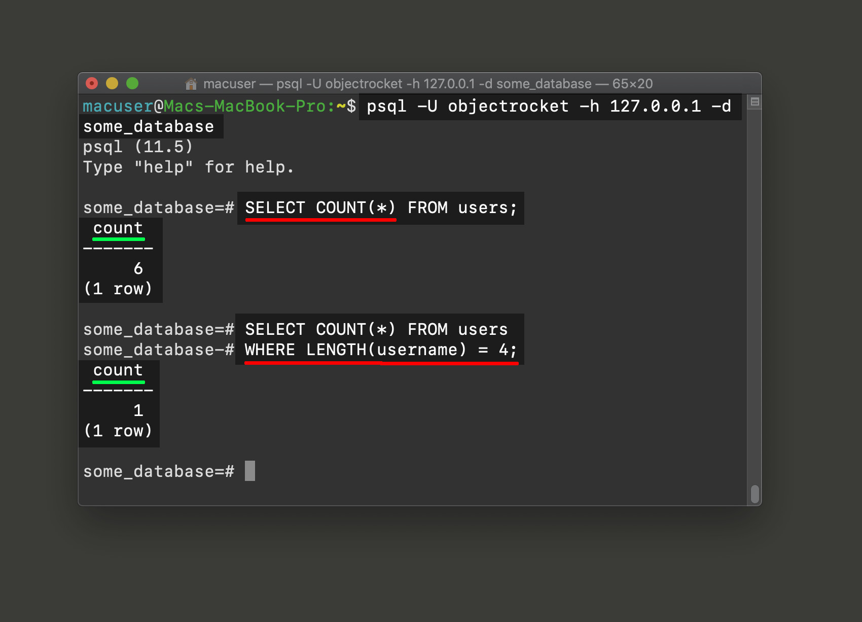 Screenshot of the SELECT COUNT function in psql to return number tally of Postgres records