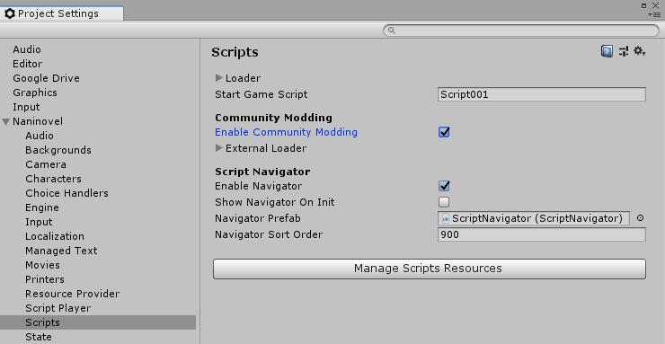 Scripts Configuration