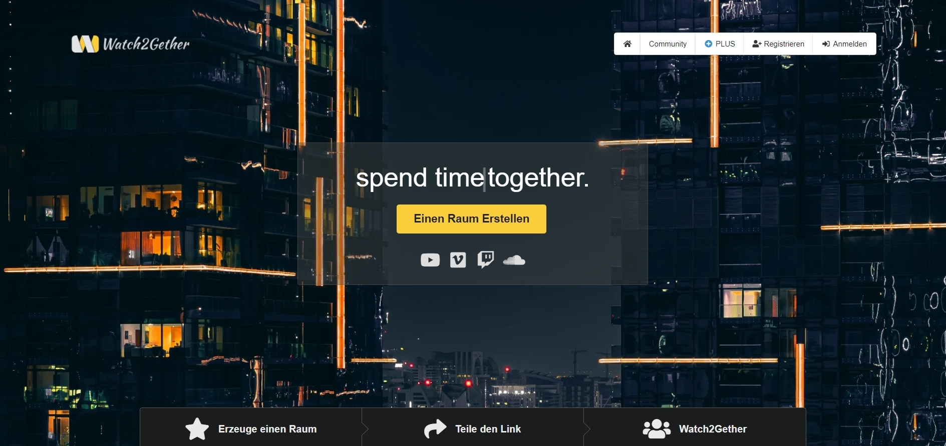 watchtogether / watch2gether Screenshot Website - gemeinsam Videos mit Freunden anschauen