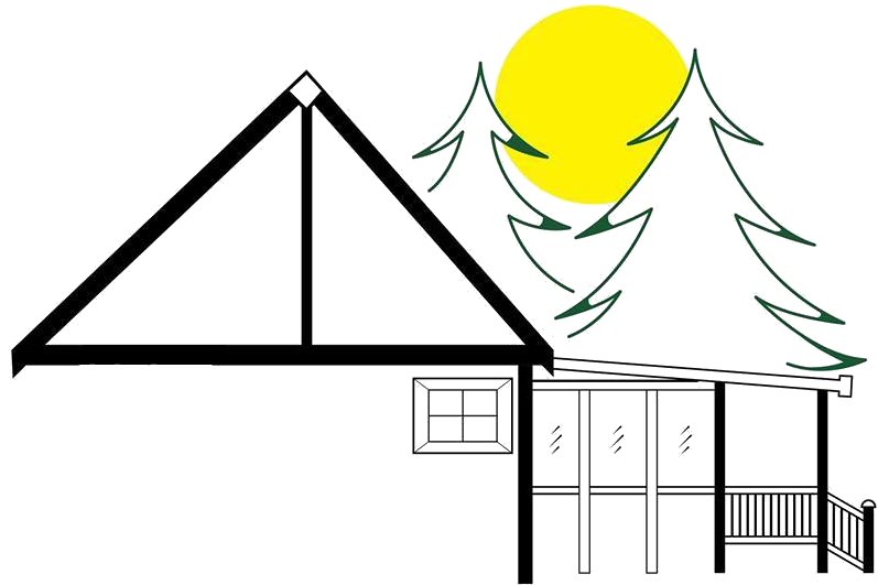 Company logo featuring a house frame with a sun and some trees in the background.