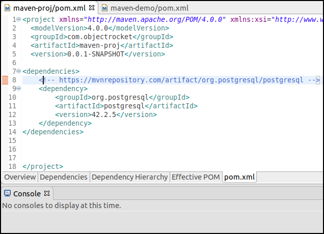 Editing the pom.xml file by typing in dependencies and pasting the snippet from the maven repositiory