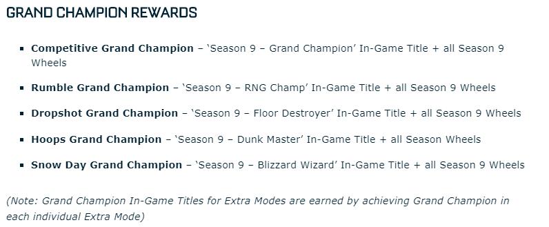 Los distintos títulos que otorgarán las recompensas de la novena temporada competitiva en función del modo. Traducciones en castellano todavía desconocidas. Fuente: https://www.rocketleague.com/news/rocket-league-roadmap--spring-2019--plus-season-9-rewards/