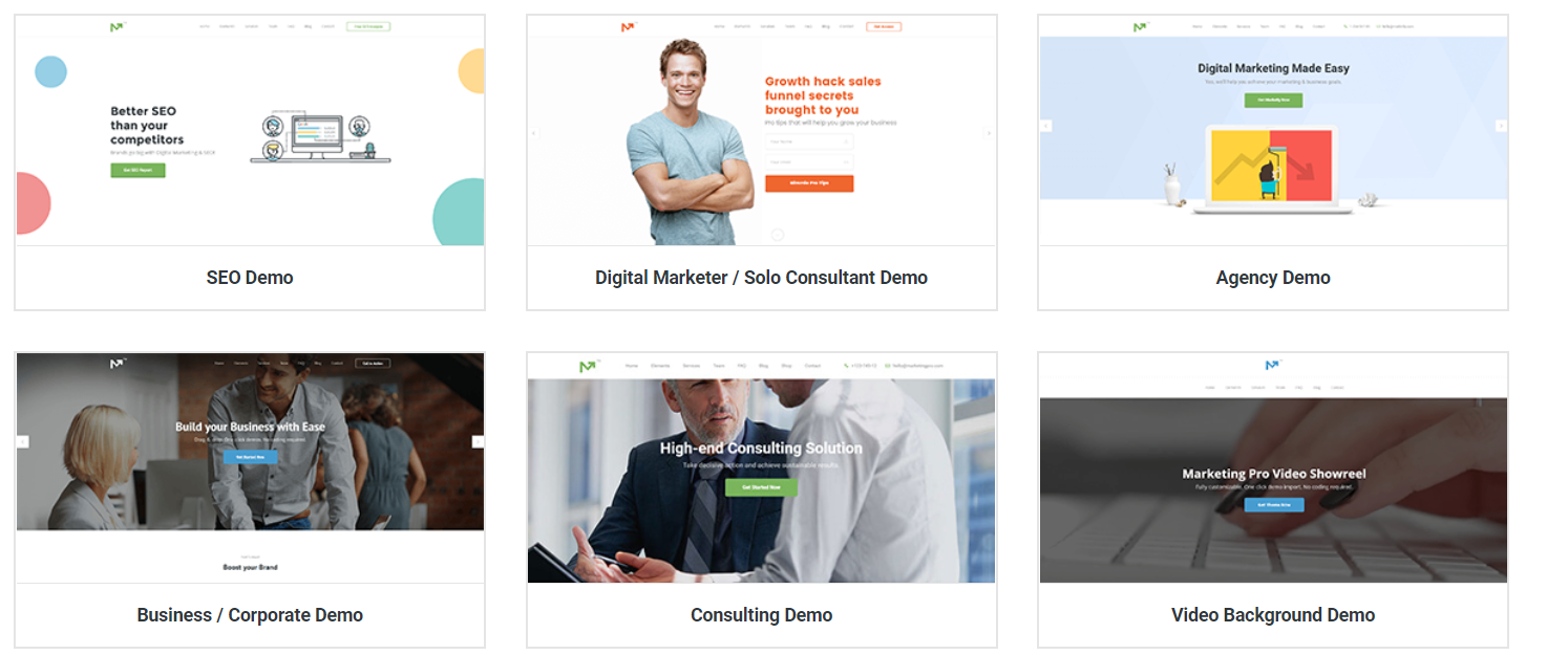 Demos Marketing Pro Theme wordpress