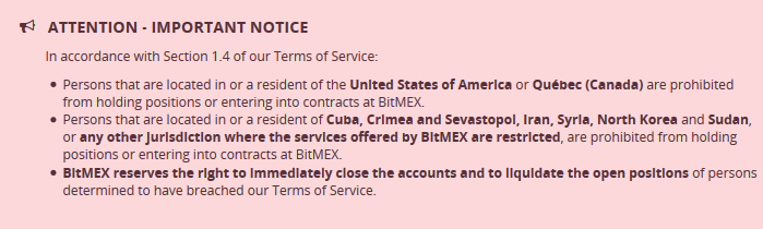 BitMEX has updated Terms of Service, cracking down on unauthorized