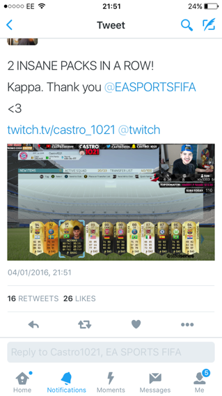 So this is what Castro gets off EA when his account is