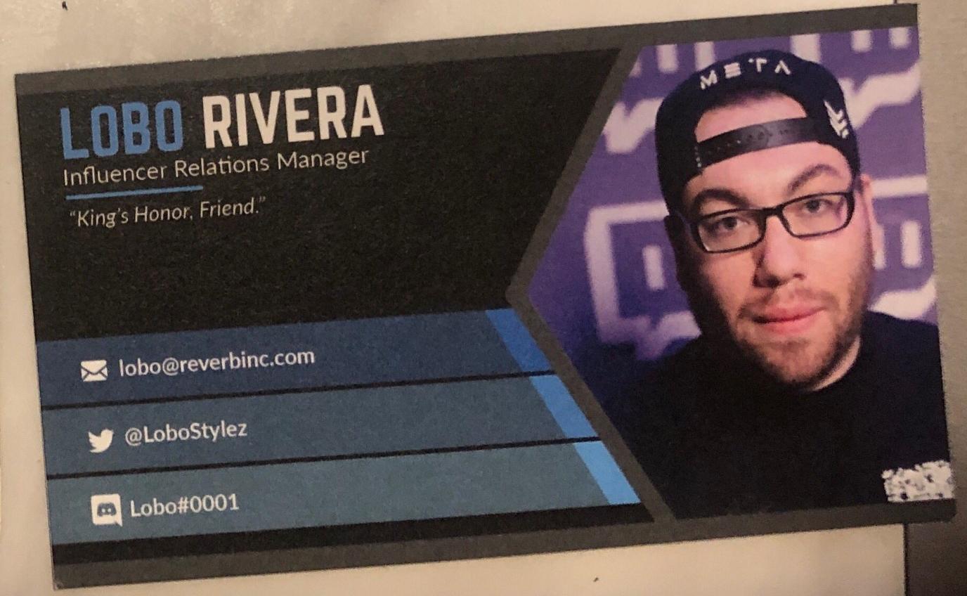 Lobo Rivera, Influencer Relations Manager, lobo@reverbinc.com, @lobostylez, lobo#0001