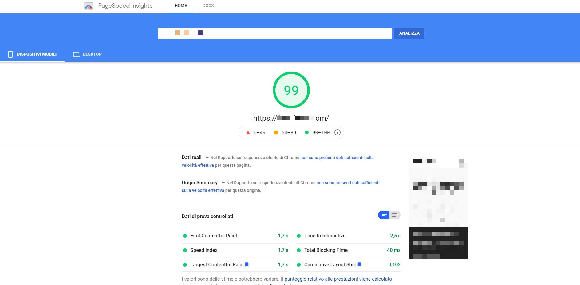 Test effettuato con Google page speed sito B