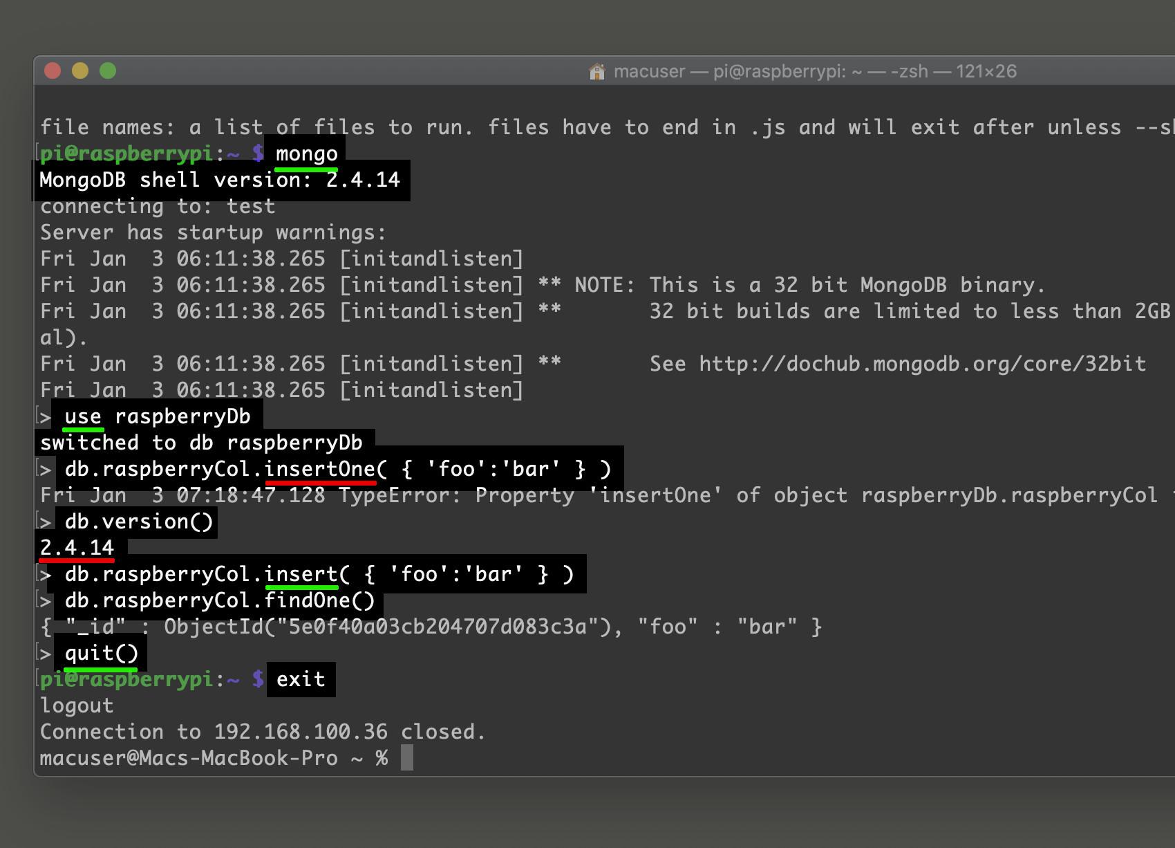 Screenshot of MongoDB in a Raspberry Pi insert one document