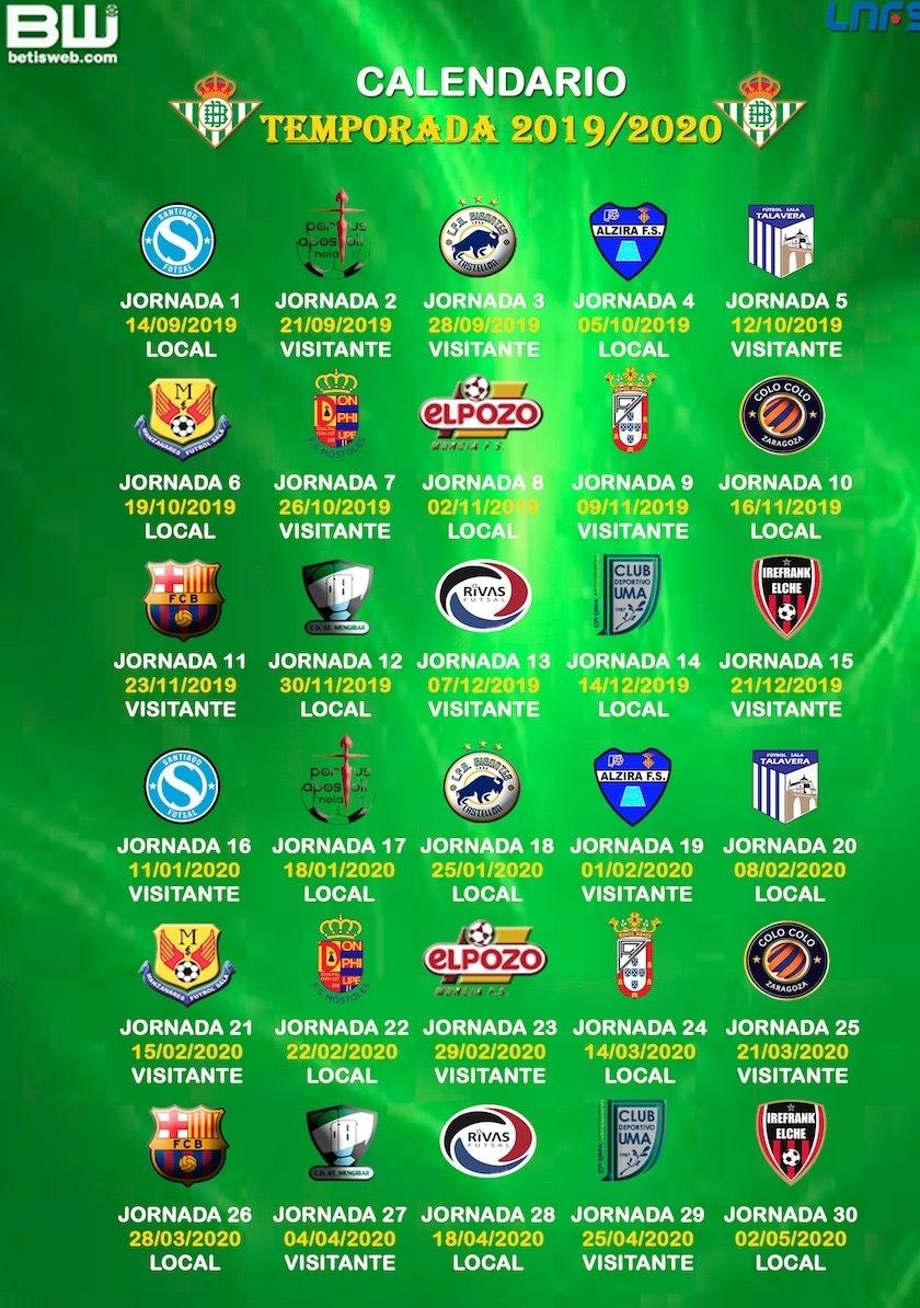 Calendario Betis 2020.Real Betis Futsal Temporada 2019 2020 Betisweb