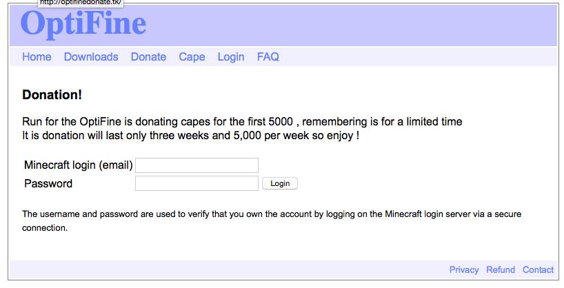 Optifine Scammers/Phishing Website