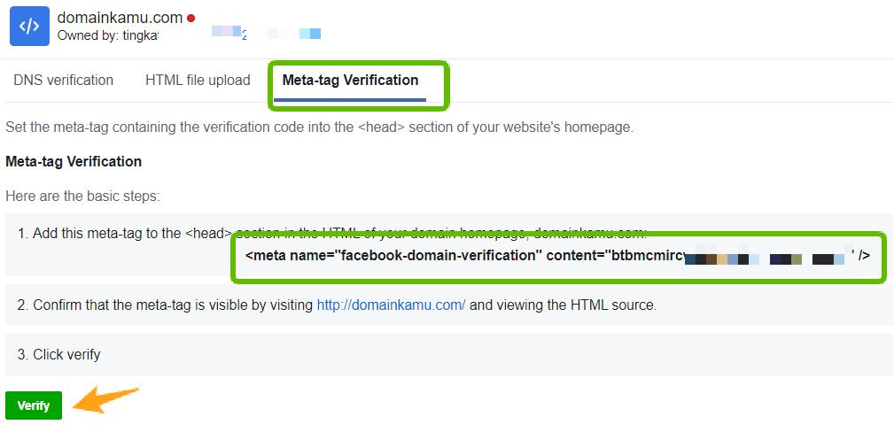 Cara Verifikasi Domain Website di Facebook Agar Tidak Mudah Di Blok (2020) 22