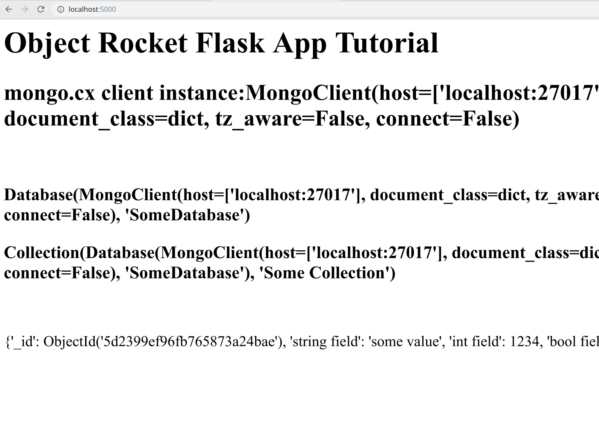 Screenshot of the MongoDB Flask application displaying collection data in a web browser