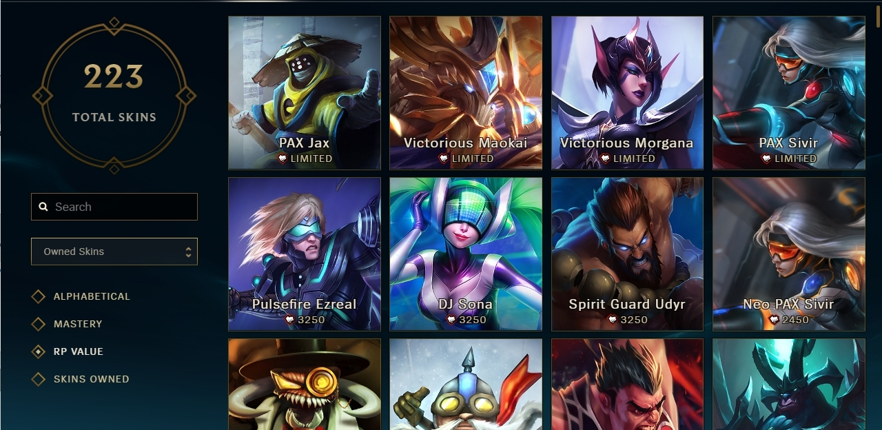 Selling LoL Acc [EUNE][GOLD3][223 Skins][All Champs] - Other - powerbot