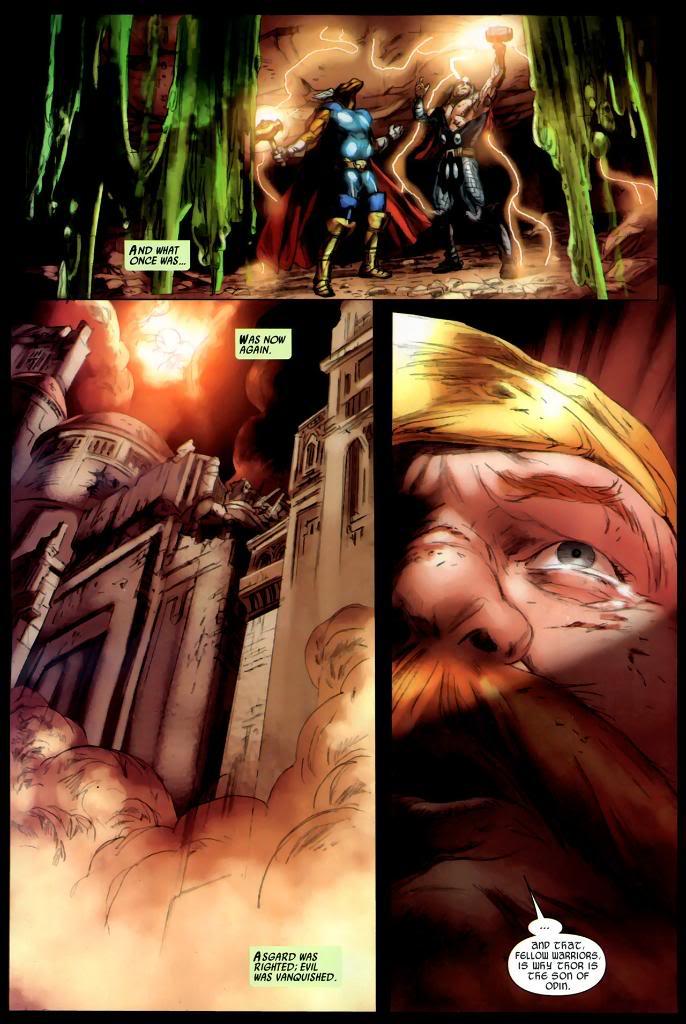 Thor and Beta Ray Bill underneath a restored Asgard