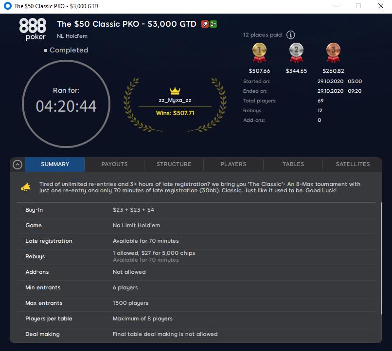 Пример «классического» нокаут турнира на 888poker за $50