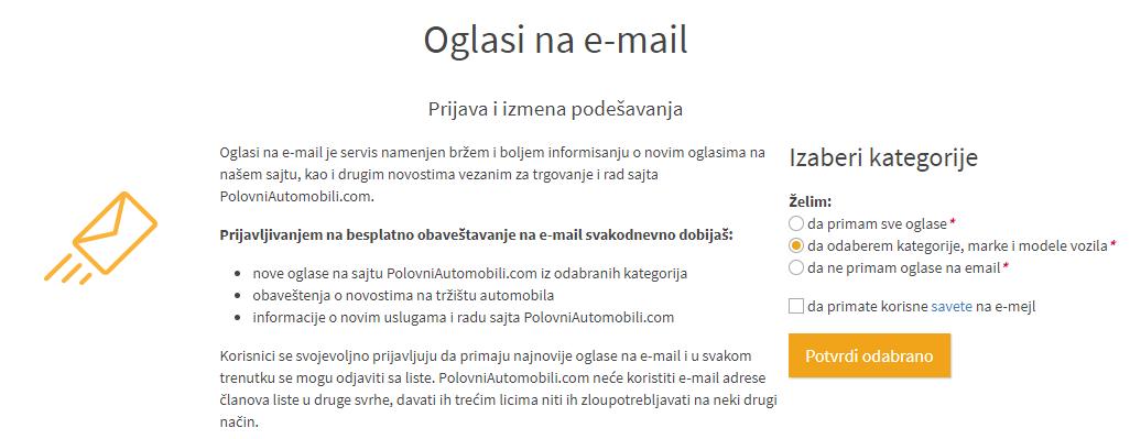 Promenio sam e-mail adresu, ali želi i dalje da primam obaveštenja sa vašeg sajta, šta da radim?