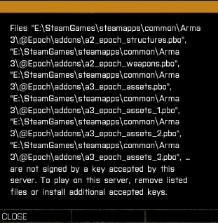 Files are not signed by a key accepted by this server