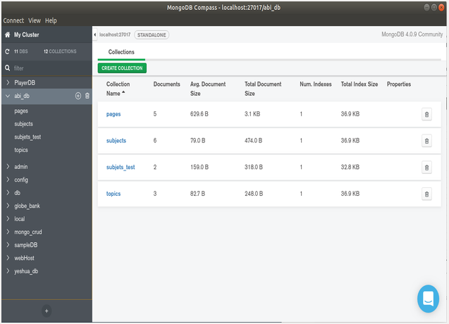 Select Database from the right side pane of MongoDB Compass Community