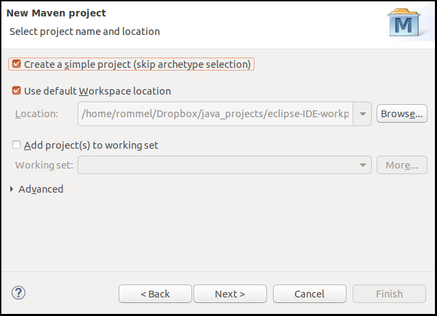 Select create a simple project by ticking the checkbox