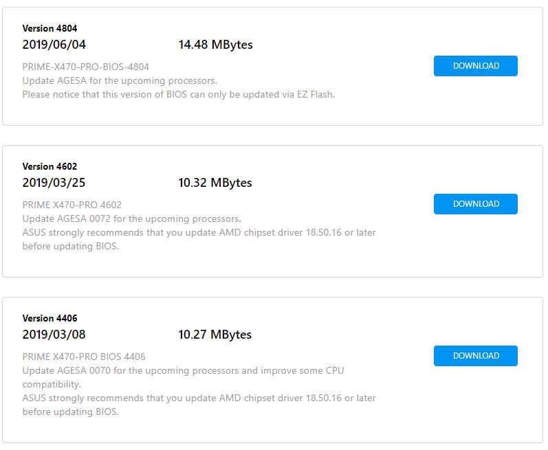 ASUS X470 Prime BIOS update for Ryzen 3xxx series - CPUs