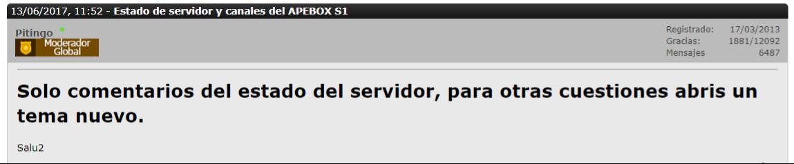 Estado de servidor y canales del APEBOX S1