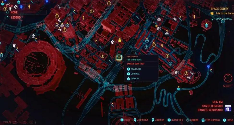 Imagen de una parte del mapa de Cyberpunk 2077. (Daily esports)
