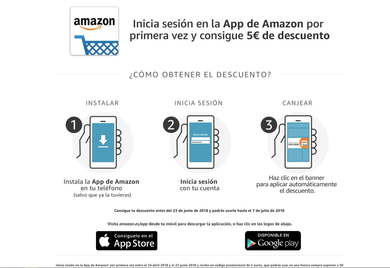 Descuento amazon por comprar en app