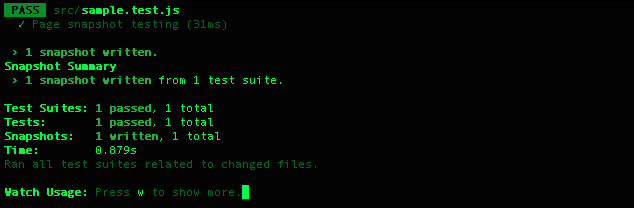 スナップテストの実行結果コンソール画面