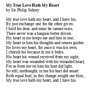 Poem of the Day. My True Love Hath My Heart by Sir Philip Sidney